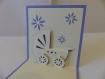 Carte ou faire-part landeau pour naissance ou anniversaire enfant en relief 3d kirigami couleur violine