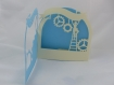 Carte bonne fête papa ou papy en relief 3d kirigami couleur bleu alizé