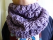 Snood tour de cou tweed couleur lilas