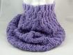 Snood tour de cou tweed couleur lilas