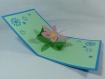Carte fleur d'été pour la fête des mères en relief 3d kirigami couleur bleu turquoise