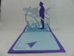 Carte pilote de ligne pour toutes occasions en relief 3d kirigami 180° couleur violine