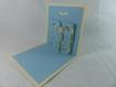 Carte de vœux noël en relief 3d kirigami 90° couleur ivoire/bleu alizé