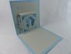 Carte de vœux ou d'anniversaire bougie en relief 3d kirigami couleur bleu alizé/gris perle