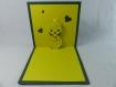 Carte poussin en relief 3d kirigami couleur vert foncé/jaune soleil