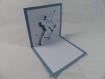 Carte fée 01 pour anniversaire ou autre occasion en relief 3d kirigami couleur bleu et blanc