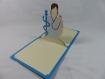 Carte infirmière pour anniversaire ou autre occasion en relief 3d kirigami couleur bleu turquoise et ivoire