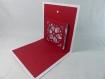 Carte de vœux flocon de noël en relief 3d kirigami couleur blanc et rouge groseille