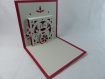 Carte de vœux petits amoureux de noël en relief 3d kirigami couleur rouge groseille et gris perle