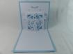 Carte de vœux noël en relief 3d kirigami couleur blanc et bleu alizé