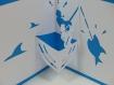 Carte pêcheur en relief 3d kirigami couleur bleu turquoise et blanc