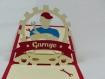 Carte mecanicien pour anniversaire ou autre occasion en relief 3d kirigami couleur rouge groseille et ivoire
