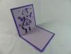 Carte de vœux lutin de noël fille en relief 3d kirigami couleur violine et lilas