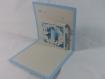 Carte de vœux bougie en relief 3d kirigami couleur bleu alizé et gris perle