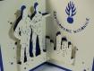Carte gendarme pour anniversaire ou autre occasion en relief 3d kirigami couleur bleu royal et ivoire