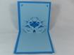 Carte de voeux ou faire-part cygnes en relief 3d kirigami couleur bleu turquoise et bleu alizé