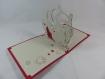 Carte tango de minuit pour les fêtes de fin d'année ou autre occasion en relief 3d kirigami couleur rouge et gris