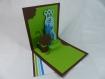 Carte petits monstres cacao et vert menthe