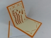 Carte vases en relief kirigami 3d couleur orange vif et ivoire