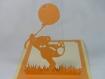 Carte ourson et ballon en relief kirigami 3d couleur chamois et clémentine