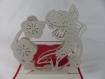 Carte carpe koï en relief kirigami 3d couleur rouge groseille et gris perle
