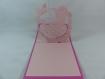 Carte landau vintage en relief kirigami 3d couleur rose fuchsia et rose