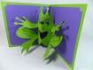 Carte sa majesté la grenouille en relief 3d kirigami couleur vert menthe et violine