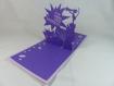 Carte chat et souris en relief kirigami 3d couleur lilas et violine