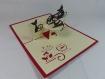 Carte chaton fripon en relief kirigami 3d couleur rouge et ivoire