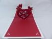Carte coeur papillon en relief kirigami 3d couleur blanc rouge groseille