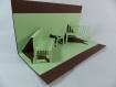 Deux bancs en relief kirigami 3d couleur cacao et vert golf