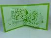 Carte médaillon floral en relief kirigami 3d couleur vert menthe, vert pale