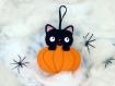 Halloween, chat noir, citrouille, chat kawaii, deco chat, decoration halloween, decoration chat, decoration citrouille, chat feutrine, chat