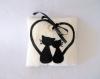 Coussin d'alliances chat, noir et ivoire, pour mariage romantique, fait main, en polaire et feutrine
