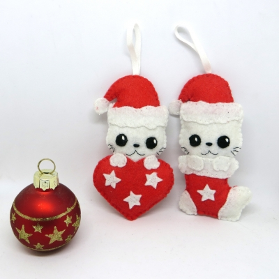 Lot de deux decorations de noel chat, chat kawaii, deco noel, decoration de noel, boule de noel, decoration en feutrine, decoration sapin