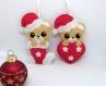 Lot de deux decorations de noel ours, ours kawaii, deco noel, decoration de noel, boule de noel, decoration en feutrine, decoration sapin