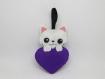 Porte clef chat, ultra violet, saint valentin, porte cle chat, coeur violet, cadeaux pour les femmes, chat en tissu, violet pantone, kawaii