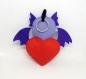 Peluche dragon, dans un coeur rouge, en feutrine, fait main