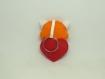 Porte clé panda roux, kawaii, dans un coeur rouge, en feutrine, fait main, cadeau fête des mères