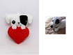 Porte clé chien, jack russell, kawaii, dans un coeur, en feutrine, fait main, cadeau de saint valentin