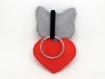 Porte clé chat gris, cadeau pour elle, en feutrine, fait main