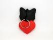 Porte clé chat noir, en feutrine, fait main, cadeau pour maman de chat