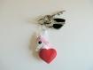 Porte clé licorne, kawaii, dans un coeur, en feutrine, fait main, cadeau pour elle