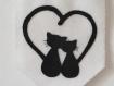Décoration murale, fanion chats noirs amoureux, en feutrine, fait main, cadeau pendaison crémaillère