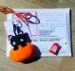 Decoration d'halloween, chat noir dans une citrouille, en feutrine, fait main