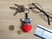 Porte clé koala, kawaii, dans un coeur, en feutrine, fait main, cadeau pour elle