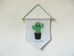 Fanion cactus kawaii, panneau de bienvenue, décoration murale entrée, en feutrine, fait main, cadeau de pendaison de crémaillère
