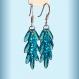 Boucles d'oreilles pluie en argent et verre, courtes couleur bleu azur