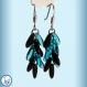 Boucles d'oreilles pluie, courtes couleur bleu azur et noir corbeau