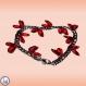 Bracelet en acier inoxydable et verre de république tchèque couleur rouge cerise